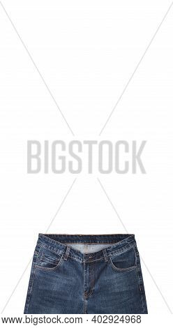 Front Pockets, Waist Area, Zipper, And Its Button Of Dark Blue Jeans Isolated On White Background. C
