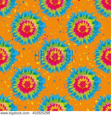 Holi Festival Inspired Paint Tie Dye Circles Seamless Vector Pattern Background. Irregular Tropical