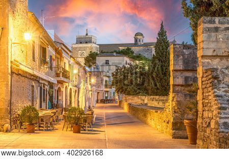 Landscape With Alcudia Old Town In Palma De Mallorca Islands, Spain