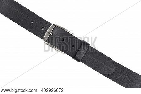 Fastened Fashionable Men\'s Leather Belt With Dark Matted Metal Buckle Isolated On White Background.