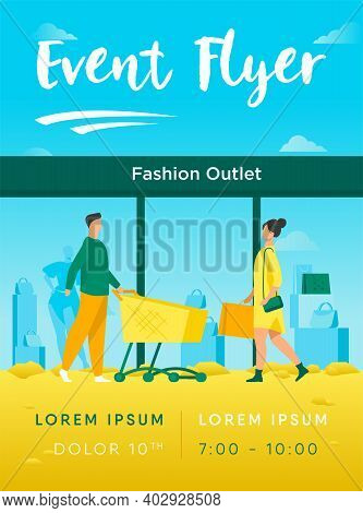 Customers Walking Into Fashion Outlet. Shoppers, Entrance, Cart, Window Flat Vector Illustration. Co