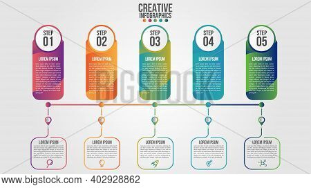 Infographic Modern Timeline Design Vector Template For Business With 5 Steps Or Options Illustrate A