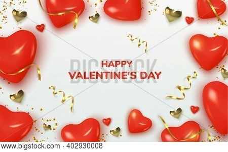 Valentines Day Greeting Card. Realistic 3d Red Hearts In Tinsel And Gold Metallic Text . Love And We