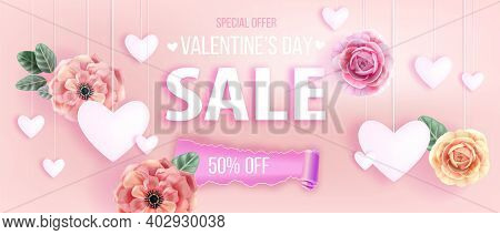 Valentines Day Sale Offer Pink Vector Love Background With Hearts, Roses, Flowers, Anemones, Leaves.