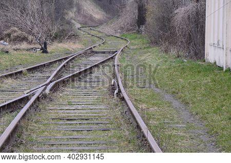 Train Tracks Going Into The Horizon. Ukraine.lviv.