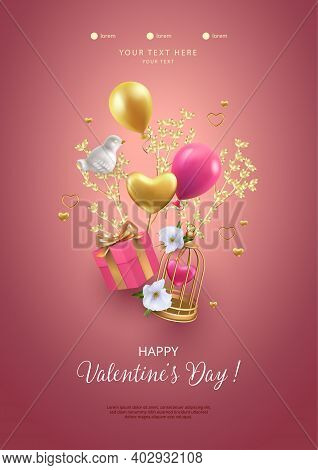 Happy Valentines Day Poster. Romantic Composition With Flying Birdcage, Gift Box, Porcelain Bird And