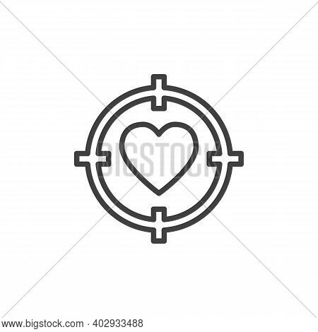 Love Target Line Icon. Linear Style Sign For Mobile Concept And Web Design. Heart Target Aim Outline