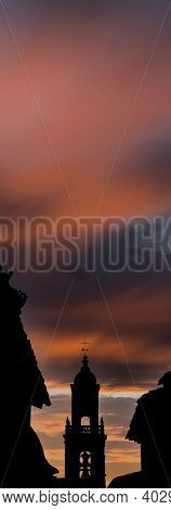 Belfry Silhouette With Orange Sky In The Background