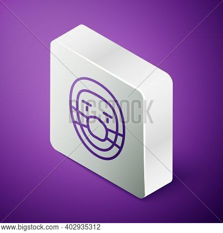 Isometric Line Doctor Pathologist Icon Isolated On Purple Background. Silver Square Button. Vector
