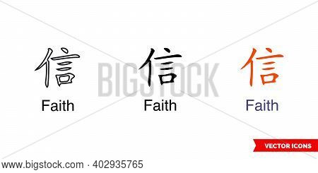 Chinese Symbol Tattoo Bracelet Faith Icon Of 3 Types Color, Black And White, Outline. Isolated Vecto
