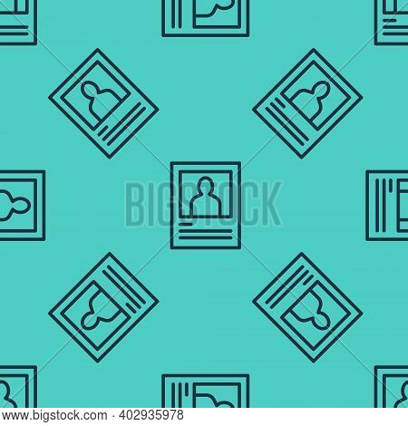 Black Line Wanted Poster Icon Isolated Seamless Pattern On Green Background. Reward Money. Dead Or A