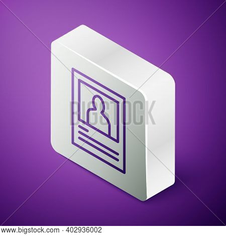 Isometric Line Wanted Poster Icon Isolated On Purple Background. Reward Money. Dead Or Alive Crime O
