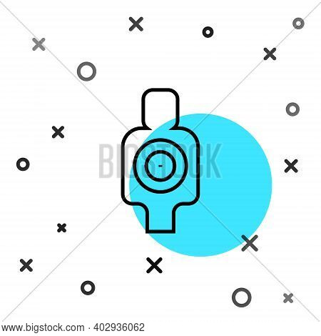 Black Line Human Target Sport For Shooting Icon Isolated On White Background. Clean Target With Numb