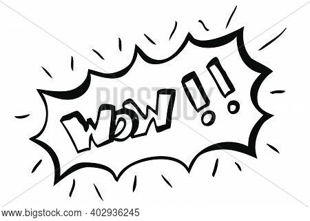 Simple Hand Draw Sketch Vector Surpise Or Shock Expression, Wow