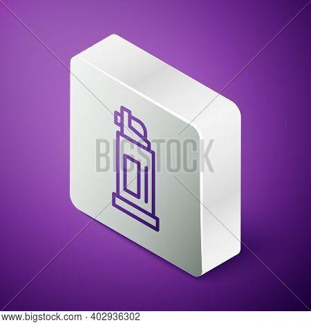 Isometric Line Pepper Spray Icon Isolated On Purple Background. Oc Gas. Capsicum Self Defense Aeroso