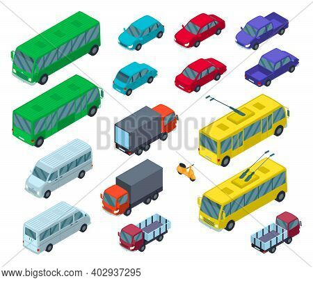 Color Car Sign Icon Set 3d Isometric View Include Of Bus, Truck, Sedan, Pickup And Bike. Vector Illu