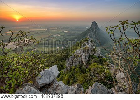 View From The Peak Of Khao Nor In The Morning Sunrise In Nakhon Sawan, Thailand.