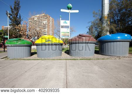 Las Condes, Santiago De Chile, Metropolitan Region, Chile- September 28, 2010: Recycle Bins Separati