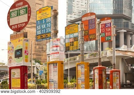 Hong Kong, China, Asia - December 07, 2008: Signs Of Information Of Bus Lines And Routes At A Bus St