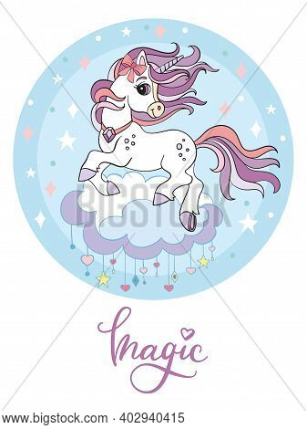 Cute Cartoon Unicorn Jumping On A Cloud. Vector Illustration Circle Shape Isolated On White Backgrou