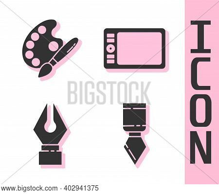 Set Palette Knife, Paint Brush With Palette, Fountain Pen Nib And Graphic Tablet Icon. Vector
