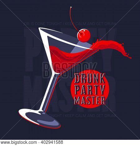 Splashing Cosmopolitan Cocktail. Martini Glass With Cocktail Vector Illustration. Splash Of Wine Coc