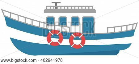 Ship For Travel By Water. Sea Transport Isolated On A White Background. Boat With Anchor And Cabin.