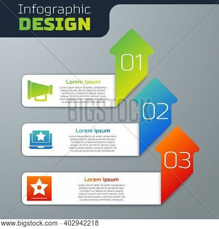 Set Megaphone, Laptop With Star And Hollywood Walk Of Fame Star. Business Infographic Template. Vect