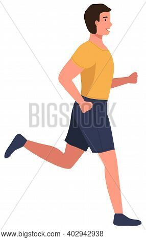 Muscular Young Man In Sports Wear Running Or Jogging. Workout Excercise. Marathon Athlete Runner Doi