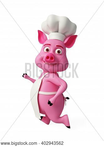 3d Rendered, 3d Illustration Of Chef Pig Is Running.