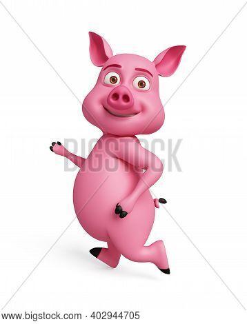 3d Rendered, 3d Illustration Of Pig Is Running.