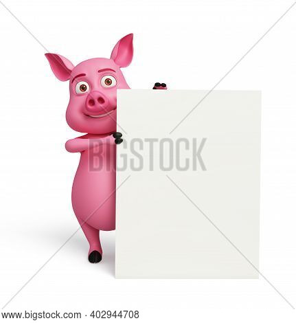 3d Rendered, 3d Illustration Of Pig With White Board.