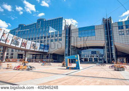 Brussels, Belgium - July 20, 2020: The European Parliament, Seat Of European Democracy