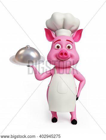 3d Render, 3d Illustration Of Chef Pig With Platter.