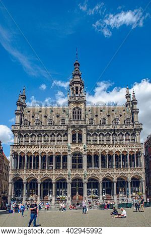 Brussels, Belgium - July 20, 2020: Brussels Famous Grand Place Where The City Hall And City Museum C