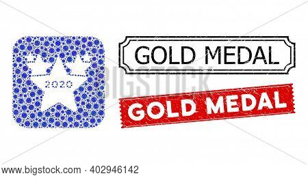 Vector Mosaic 2020 Stars Hit Parade And Grunge Gold Medal Seals. Mosaic 2020 Stars Hit Parade Constr