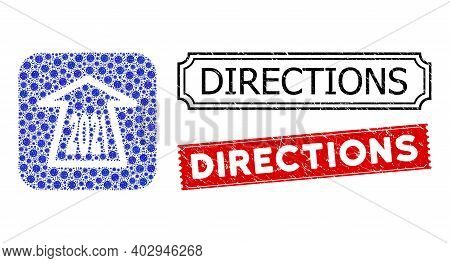 Vector Collage 2021 Ahead Arrow And Grunge Directions Stamps. Mosaic 2021 Ahead Arrow Designed As Ca