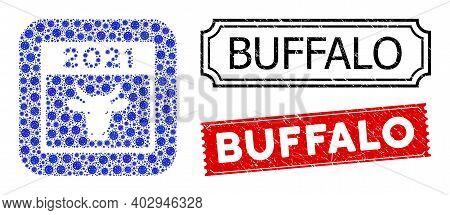 Vector Mosaic 2021 Bull Calendar And Grunge Buffalo Seals. Mosaic 2021 Bull Calendar Constructed As