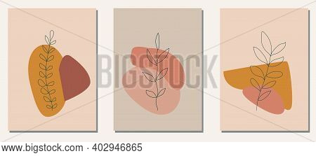 A Set Of Posters In Trendy Boho Colors. Hand Drawn Abstract Elements Flowers And Leaves. Collection