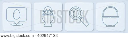 Set Line Speech Bubble With Easter Egg, Search And Easter Egg, Easter Egg On A Stand And Basket. Whi