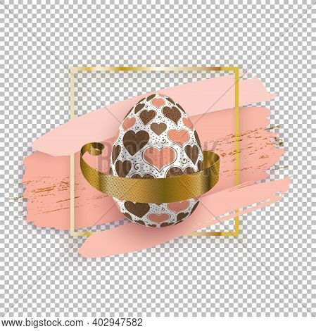 White Easter Egg In Gold Square With Pink Blots On White Background. Grunge. Easter Banner.. Heart P