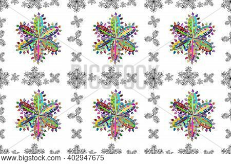 Seamless Colorful Flowers Pattern On White Background. Doodles Petals Flowers. Frame Pattern. Light.