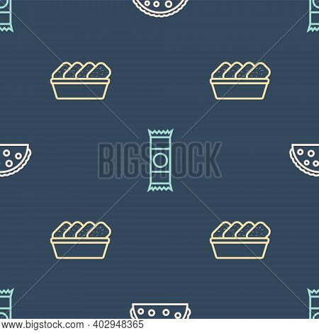 Set Line Taco With Tortilla, Chicken Nuggets In Box And Chocolate Bar On Seamless Pattern. Vector