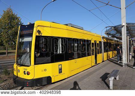 Essen, Germany - September 20, 2020: Yellow Tram Of U-bahn In Essen, Germany. It Is Part Of Rhein-ru