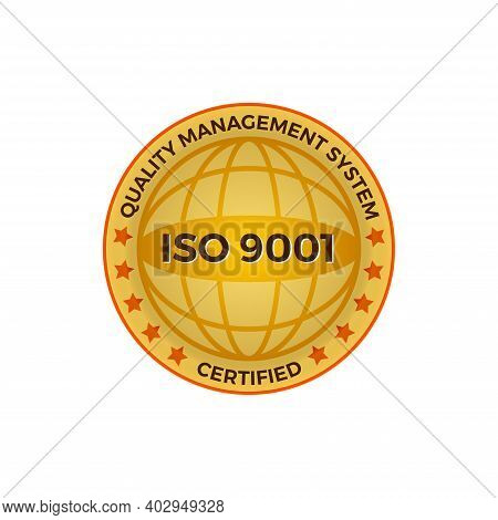 Iso 9001 Certified Golden Label, Vector Illustration. Iso 9001 Standard Certified Icon Vector On Whi