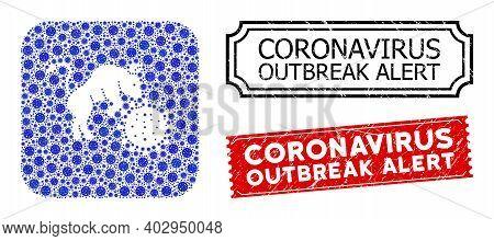 Vector Mosaic Bull Attacks Coronavirus And Grunge Coronavirus Outbreak Alert Seal Stamps. Mosaic Bul