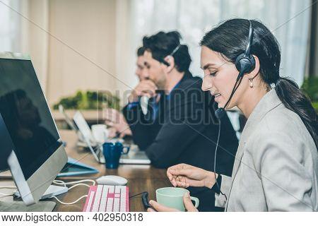 Beautiful Caucasion Women On Telemarketing Representative Or Sales Agents Sitting At Workplace Weari