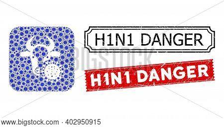 Vector Mosaic Cow Coronavirus And Grunge H1n1 Danger Seal Stamps. Mosaic Cow Coronavirus Constructed