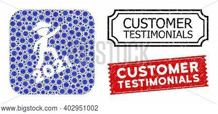 Vector Mosaic Gentleman Climbing 2021 And Grunge Customer Testimonials Seals. Mosaic Gentleman Climb