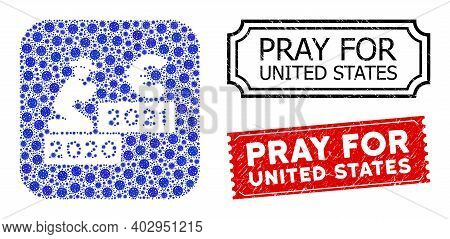 Vector Mosaic Gentleman Pray Euro 2021 And Grunge Pray For United States Seals. Mosaic Gentleman Pra